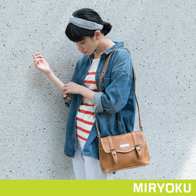 MIRYOKU-經典復古皮革系列-青春學院風斜背包