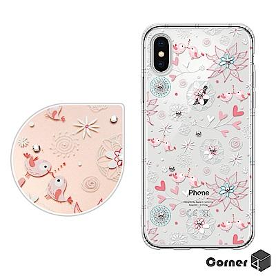 Corner4 iPhoneX 奧地利彩鑽防摔手機殼-知更鳥