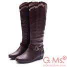 G.Ms. 牛皮刺繡波浪靴筒皮帶小坡跟長靴-咖啡