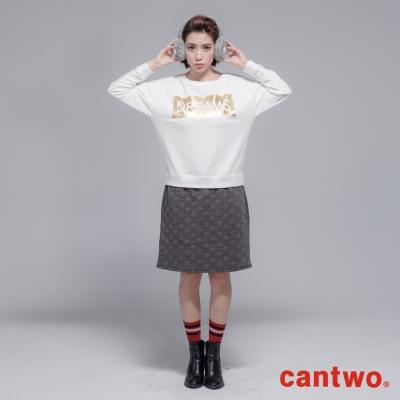 cantwo金箔印刷泡泡假兩件洋裝(共三色)