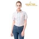 【hilltop山頂鳥】女款吸濕排汗抗UV彈性短袖襯衫S06F56白底彩條