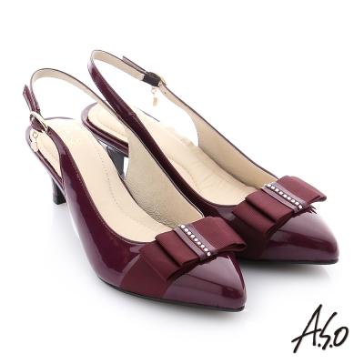 A.S.O 個性美型 全真皮蝴蝶結水鑽奈米高跟鞋 紫色