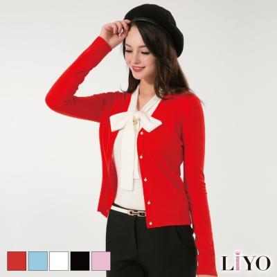 LIYO理優V領珠扣針織外套(粉、橘、淺藍、白、黑)