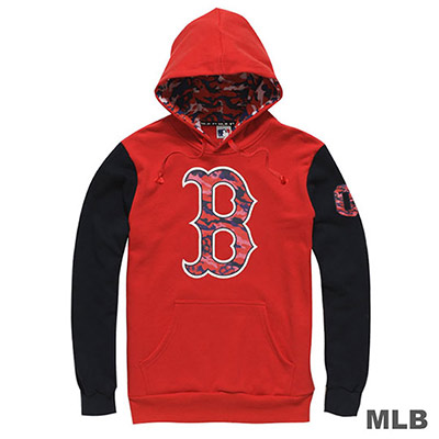 MLB-波士頓紅襪隊連帽撞色迷彩LOGO印花長袖厚T恤-紅(男)