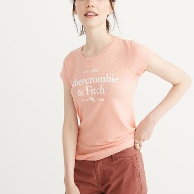 A&F 經典貼字文字麋鹿短袖T恤(女)-粉色 AF Abercrombie