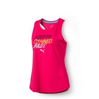 PUMA 女性慢跑系列PWRCOOL字樣運動背心-莓子紅