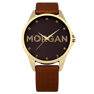 MORGAN 愛戀同心晶鑽時尚腕錶-金X咖啡/38mm