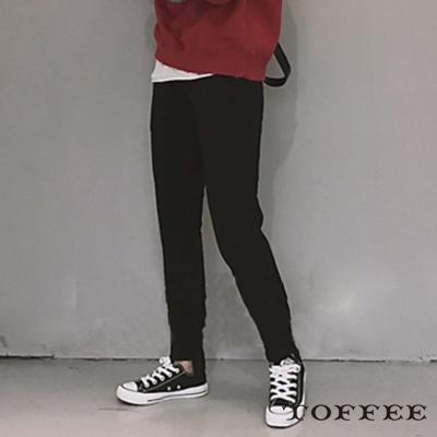 薄絨休閒棉質褲-共二色-TOFFEE