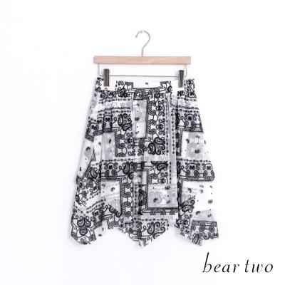 beartwo 佩利斯印花不規則雪紡短裙(白色)