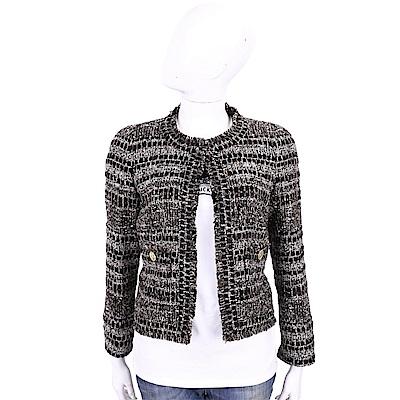 EDWARD ACHOUR PARIS 羊毛黑白混色粗花呢短版外套