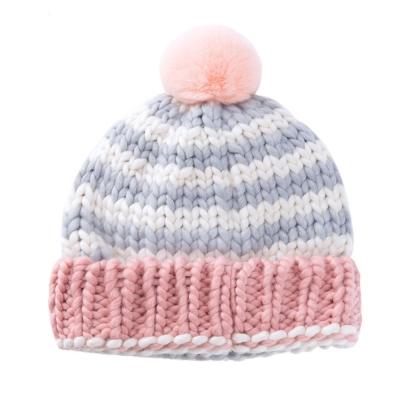 經典 兔毛球球 毛線帽-二色
