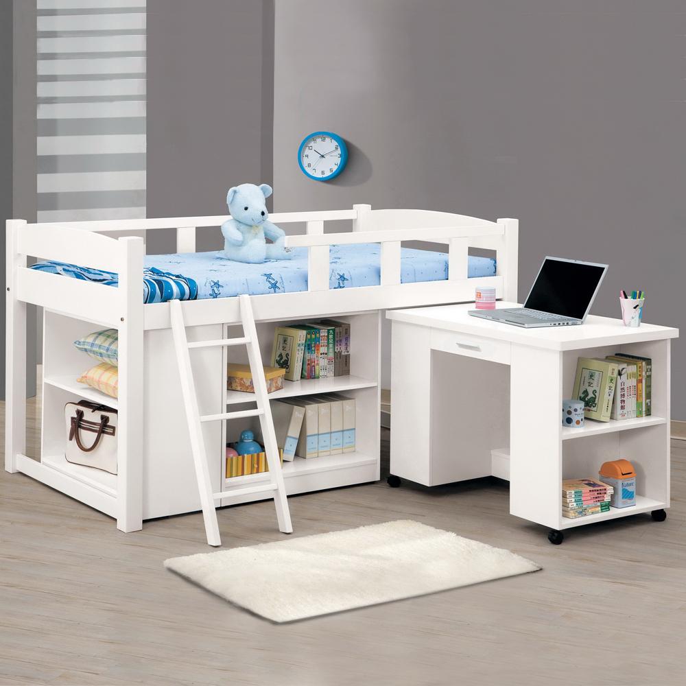 時尚屋 貝莎3.8尺白色功能組合床組 (不含床墊-含收納櫃-活動書桌-床架)