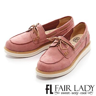 Fair Lady Soft Power軟實力 率性休閒綁帶穿繩帆船鞋 粉