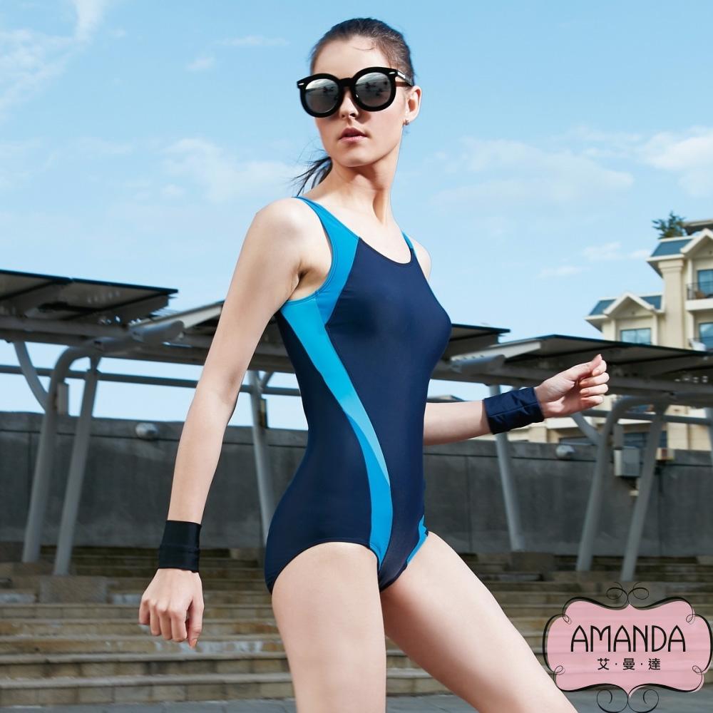 AMANDA艾曼達 泳裝 連身三角-競泳-附帽(L~XL)