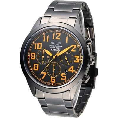 ALBA 個性潮流三眼碼錶計時男錶(AT3527X1)-鍍黑x橘刻/43mm