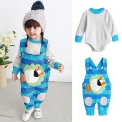 baby童衣 寶寶包屁衣吊帶套裝  藍獅子背帶褲 2件/套 秋冬款37004