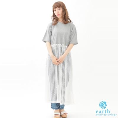 earth music 素面短袖上衣拼接透膚蕾絲洋裝