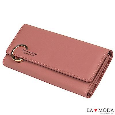 La Moda 時尚品牌Look大C釦大容量多卡位長夾(粉)
