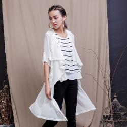 WIP X 2% 綁帶雪紡長版罩衫_白