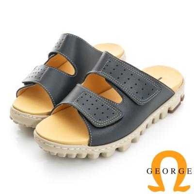 GEORGE 喬治-舒適系列 真皮雙帶魔鬼氈拖鞋(女)-藍色