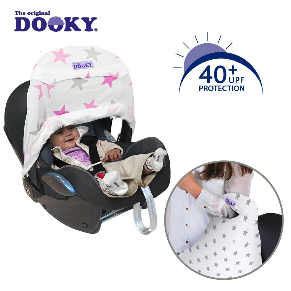 荷蘭dooky-抗UV手提汽座前遮陽罩-粉紅星星
