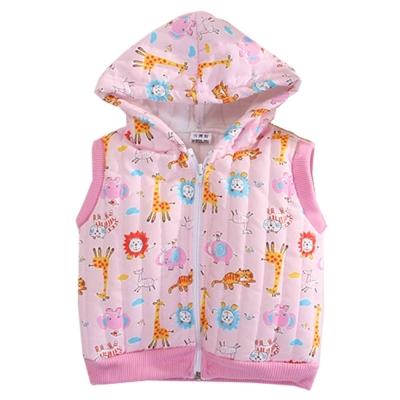動物印花鋪棉連帽背心 粉 k60522 魔法Baby