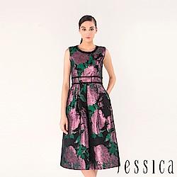 JESSICA - 金屬花卉緹花修身洋裝