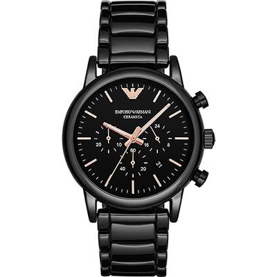 Emporio Armani 亞曼尼 陶瓷三眼計時腕錶(AR1509)-黑x44mm