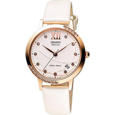 ORIENT 東方 時尚風采晶鑽機械腕錶-白x玫瑰金/36mm