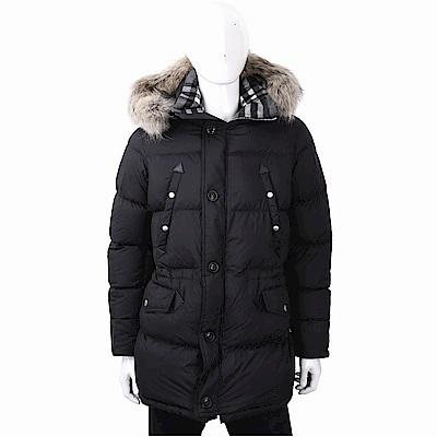 BURBERRY 浣熊皮草鑲滾黑色可拆式連帽羽絨大衣