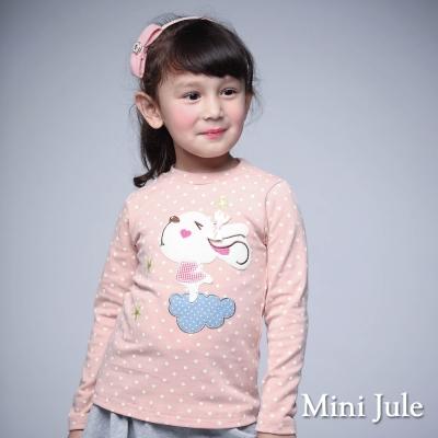 Mini Jule 童裝-上衣 滿版點點雲朵兔子棉質長袖T恤(粉)