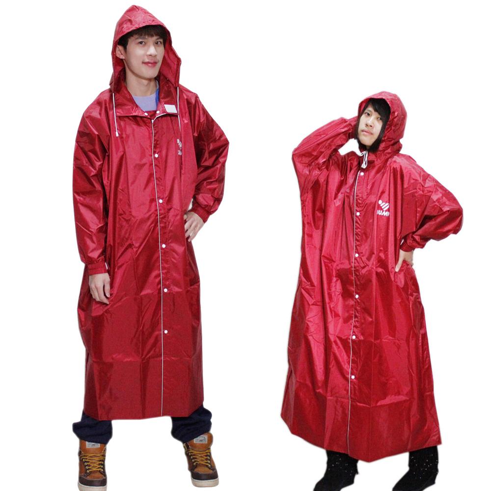JUMP 新二代前開素色休閒風雨衣-紅色