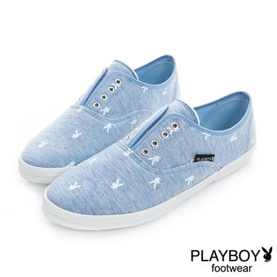 PLAYBOY 清甜步伐 舒適棉布鬆緊帶便鞋-藍(女)