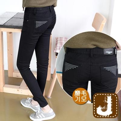 正韓 ?點點素黑顯瘦磨毛管褲-(黑色)100%Korea Jeans