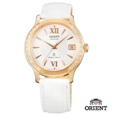 ORIENT 東方錶 ELEGANT系列 優雅鑲鑽機械女錶-白色/36mm