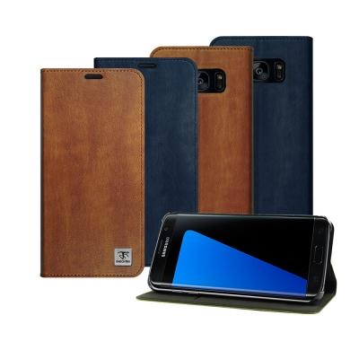 Metal-Slim 三星 Galaxy S7 edge超薄復古紋PC內層站立皮...