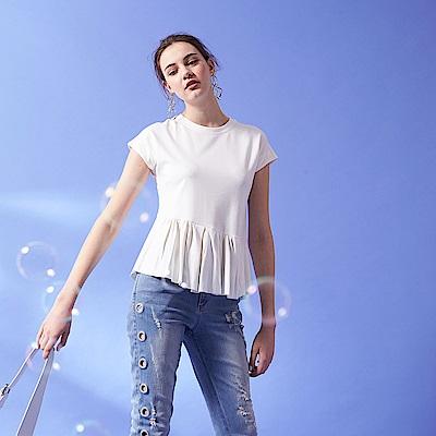 時尚百摺波浪親膚素面圓領簡約造型上衣(兩色)-白