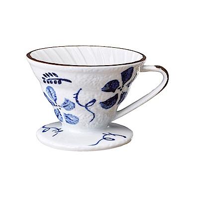 Tiamo V02日式手繪陶瓷咖啡濾器-古染花(HG5549A)