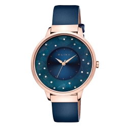 ELIXA Finesse晶鑽錶面簡約刻度皮革系列 星辰藍38mm