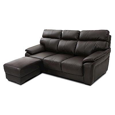 日安家居-Wally威力極雅緻L型皮沙發/三人+腳椅