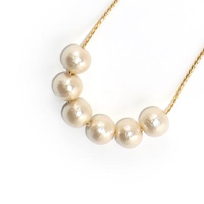 JewCas Cotton Pearl系列8mm棉珍珠6粒項鍊_JC2458-8