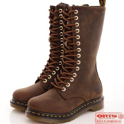 『ORIS』女款 經典個性14孔長休閒靴.馬汀靴~瘋馬咖