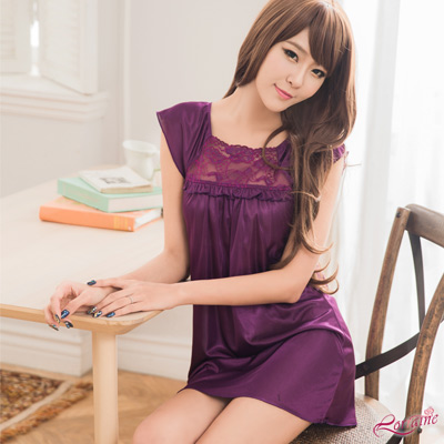 性感睡衣 浪漫深紫色小蓋袖柔緞性感睡衣(深紫F) Lorraine