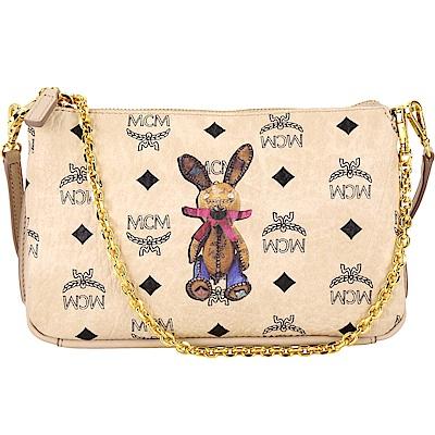 MCM-Rabbit-兔子-印花-鍊帶-晚宴包-米