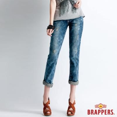 BRAPPERS 女款 Boy Friend Jeans系列-女用寬版雪花反摺直統褲-雪花