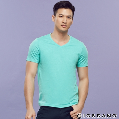 GIORDANO-男裝素色純棉V領短袖TEE-14