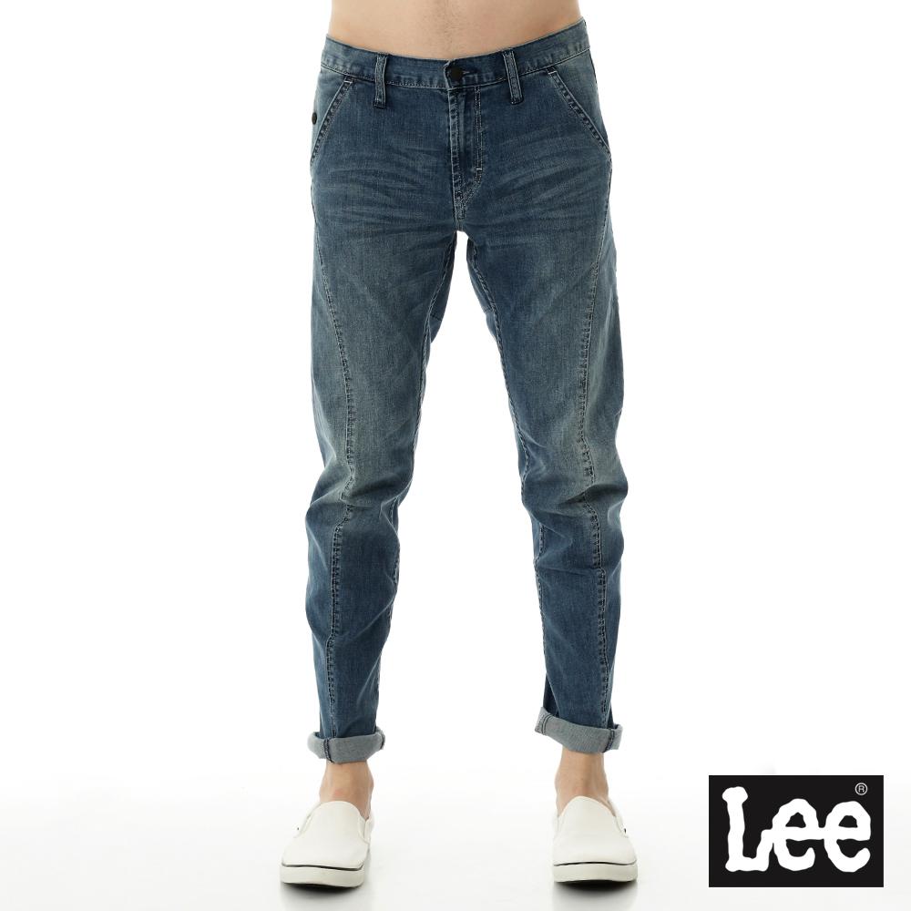 Lee 牛仔褲755 3D低腰標準小直筒多細節設計-男款-中藍