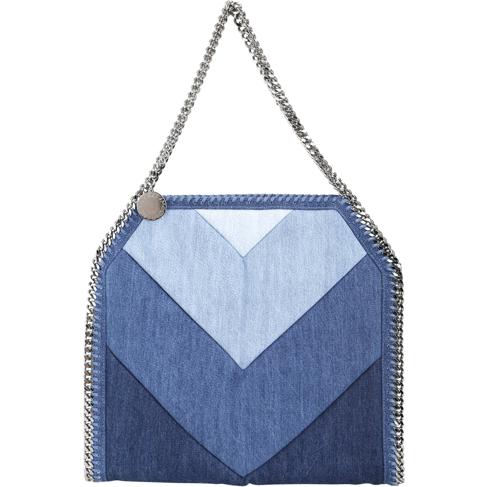 Stella McCartney Falabella 丹寧牛仔幾何拼接鍊帶肩背包(藍色系)