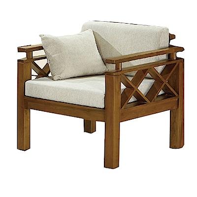 品家居 格蒂思亞麻布實木單人椅(不含椅墊)-80x76x83cm-免組