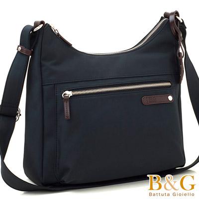 B&G輕時尚悠閒寬底斜肩背包(絲光黑)